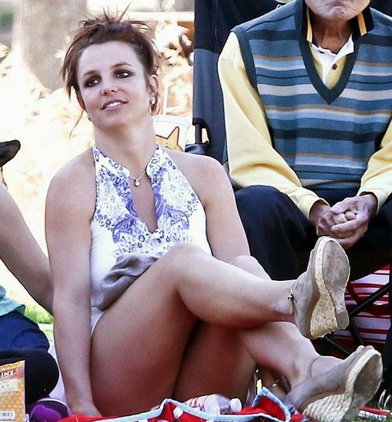 Britney Spears Upskirt Panty Flashing At A Soccer Game In