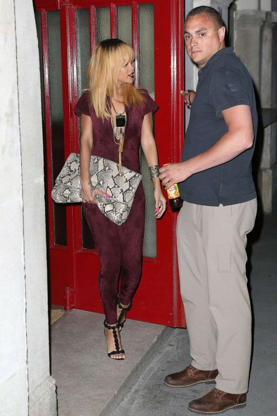 Rihanna-out-in-Paris-in-red-skintight-catsuit
