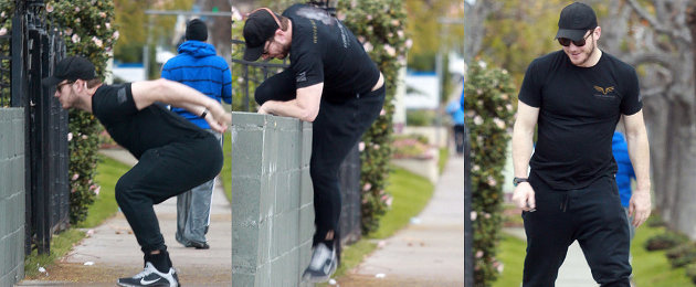 Chris Pratt Attempts a Wall Jump, Fails, and Adorably Laughs It Off