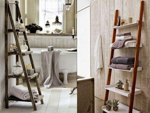 Ladder Another original DIY project for your bathroom Find an old ladder in  your garage or. Bathroom Ladders For Towels