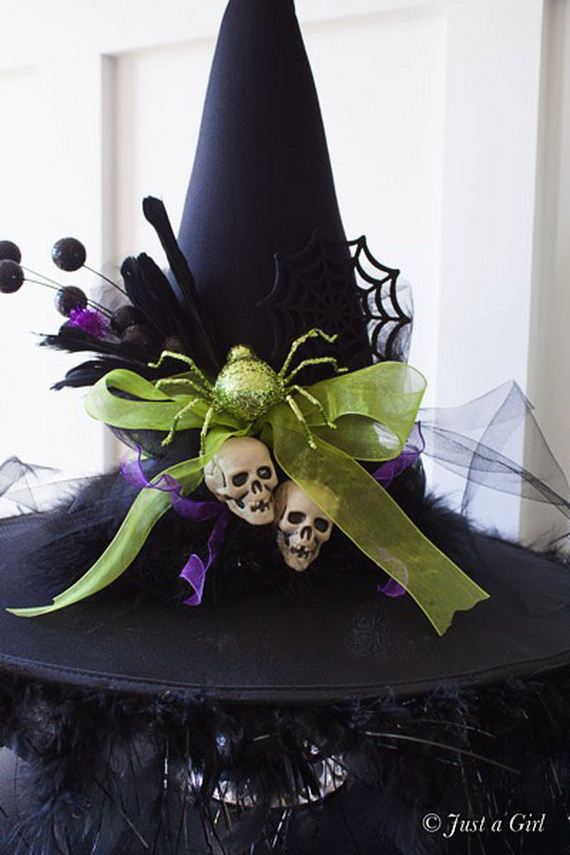 DIY Witches Hat - Halloween Decor from Just a Girl. Tutorial at TidyMom.net