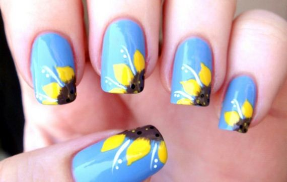 01-sunflower-nail-designs