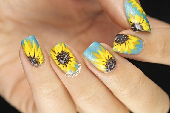 02-sunflower-nail-designs
