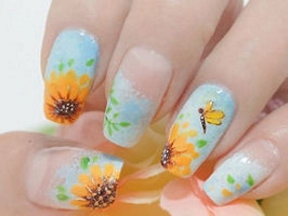 05-sunflower-nail-designs