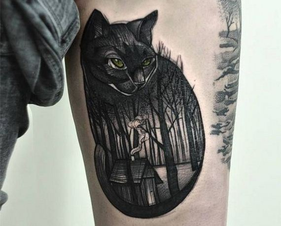09-black-cat-tattoo-design