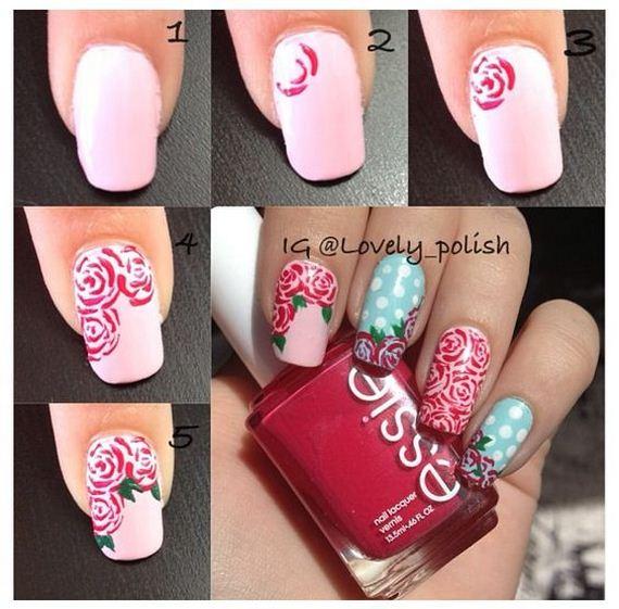 Colorful Rose Nail Art